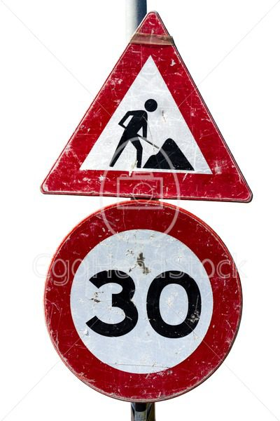 Road works and speed limit sign - EggHeadStock