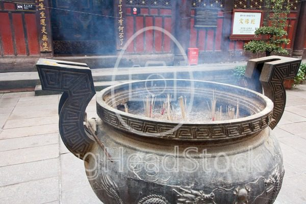 Round incense holder in Chinese temple - EggHeadStock