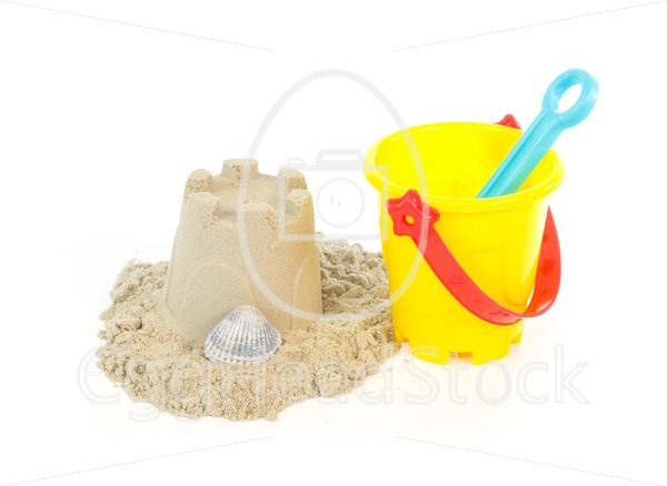 Sand castle built with a toy bucket - EggHeadStock