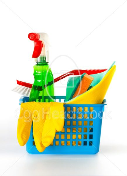 Several cleaning products in a basket - EggHeadStock