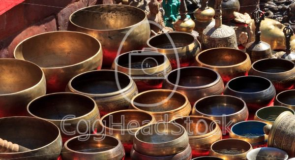 Several singing bowls at a bazaar - EggHeadStock