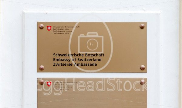 Sign of the Swiss Embassy in The Hague, Netherlands - EggHeadStock