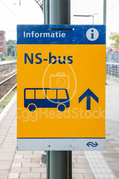 Sign pointing to replacement bus transport operated by the Dutch railway company in The Netherlands - EggHeadStock