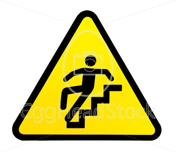 Sign warning for slippery stairs when wet - EggHeadStock