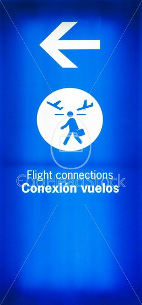 Sign with direction for connecting flights - EggHeadStock