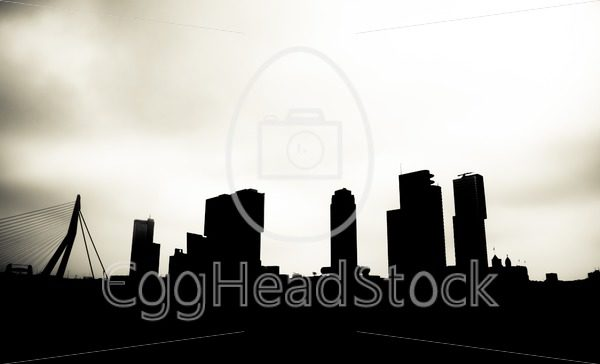 Silhouette of the skyline of Rotterdam - EggHeadStock