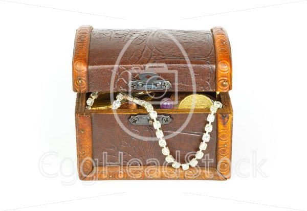 Slightly opened treasure chest with bracelet, coins and pearls - EggHeadStock