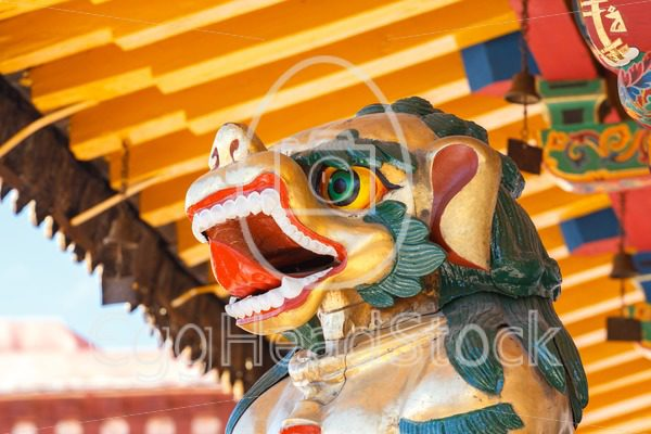 Snow Lion in Buddhist temple in Tibet - EggHeadStock