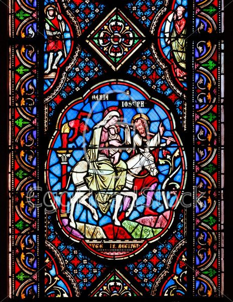 Stained glass windows depicting Mary, Joseph and baby Jesus - EggHeadStock