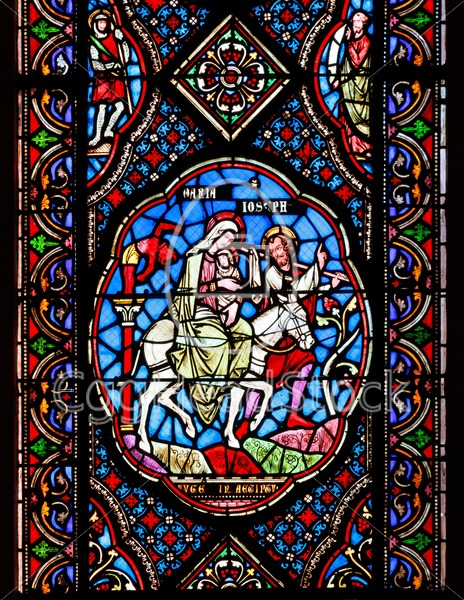 Stained Glass Windows Depicting Mary Joseph And Baby Jesus