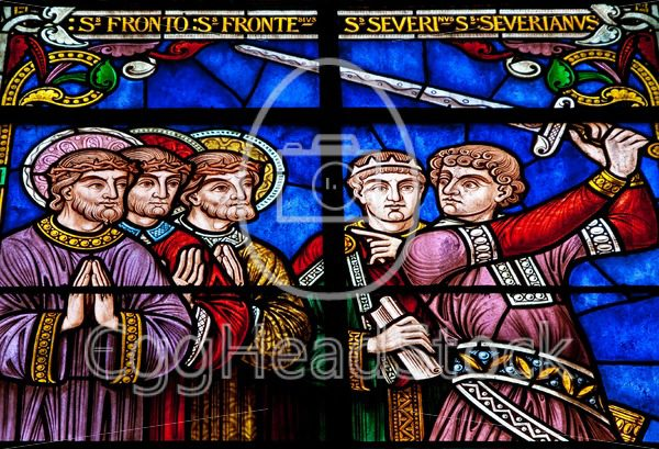 Stained glass with knight and saints - EggHeadStock