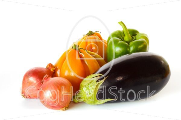 Still of eggplant, pepper, onions and tomatoes - EggHeadStock