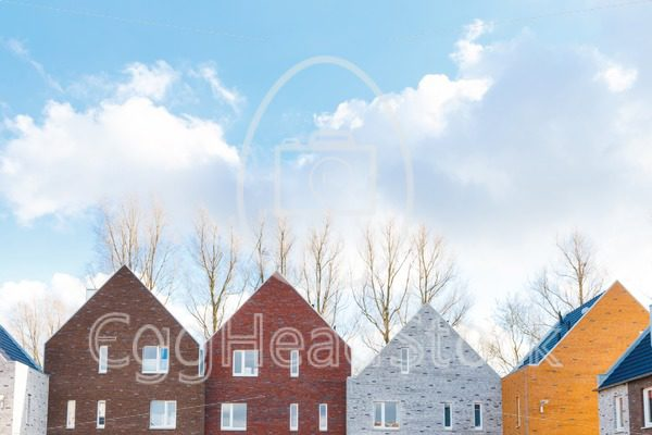 Terraced houses with minimalist design and classic gabled roof - EggHeadStock