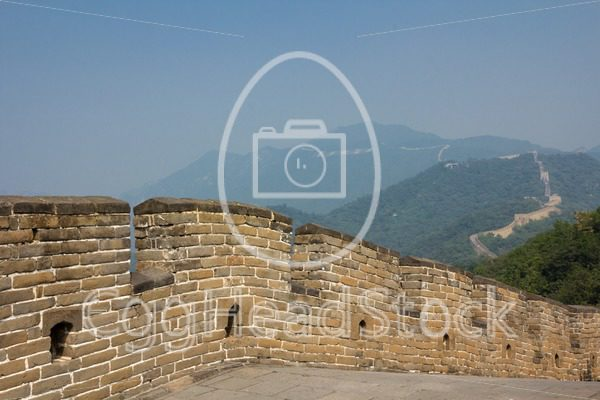 The course of the Great wall of China over the mountains - EggHeadStock