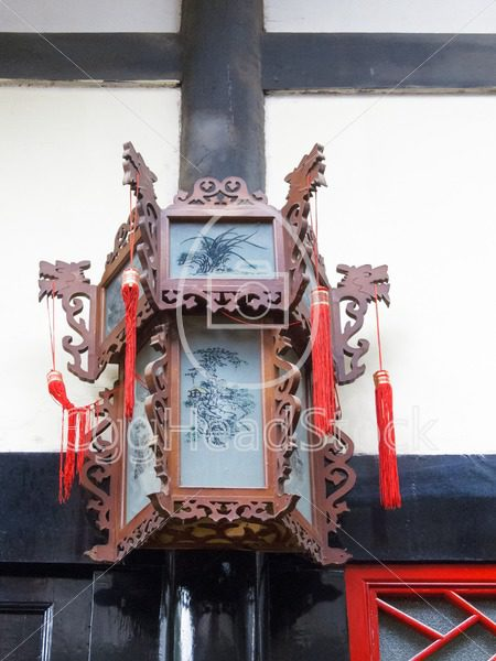 Traditional Chinese hand carved wood palace lantern with painted glass panels - EggHeadStock
