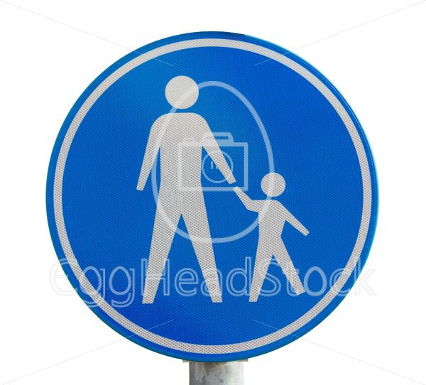 Traffic sign for pedestrian only route - EggHeadStock