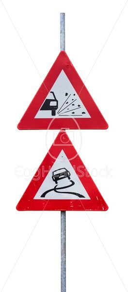 Traffic signs for loose chippings and slippery road - EggHeadStock