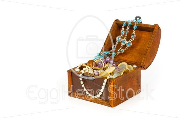 Treasure chest with bracelets, coins, rings and pearls - EggHeadStock