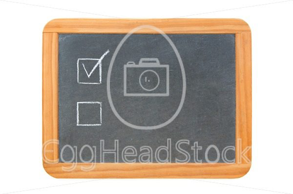 Two checkboxes on vintage chalkboard - EggHeadStock