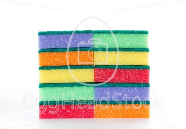 Two stacks of colorful cleaning sponges with abrasive pad - EggHeadStock