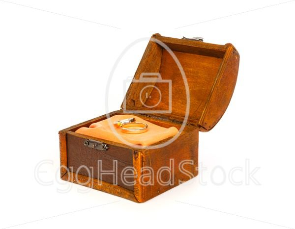 Two wedding rings in open treasure box - EggHeadStock