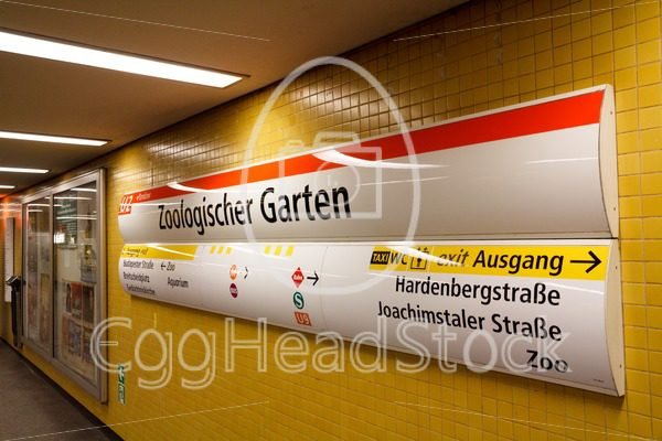 U-Bahn station sign of Zoologischer Garten, Berlin, taken from an oblique angle - EggHeadStock