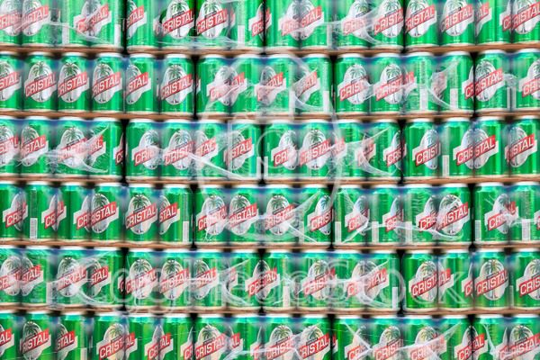 Wall of Cerveza Cristal beer cans - EggHeadStock