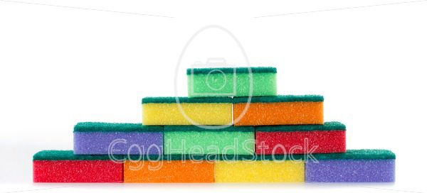 Wall of colored cleaning sponges - EggHeadStock