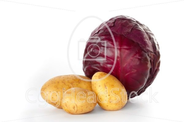 Whole red cabbage with three potatoes - EggHeadStock