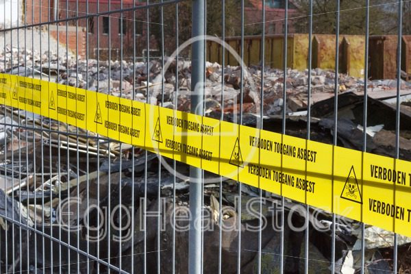 Yellow no Trespassing tape for asbestos in dutch - EggHeadStock