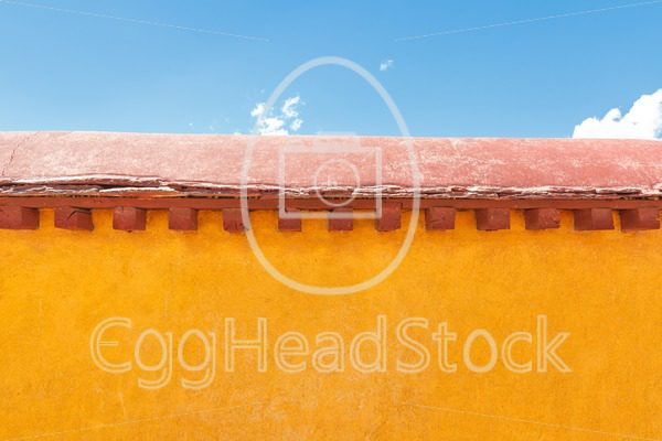 Yellow wall at Jokhang temple, Lhasa, Tibet - EggHeadStock