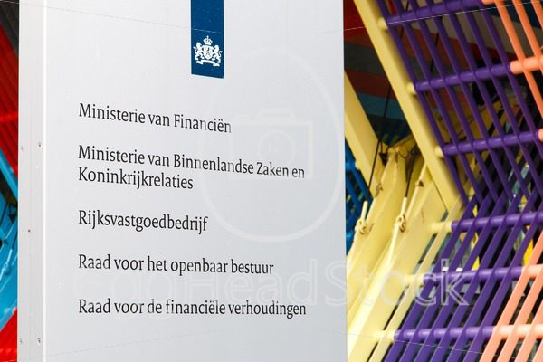 Company sign at the Dutch Ministry of Finance, Ministry of Interior and Kingdom Relations and other departments of the central government - EggHeadStock