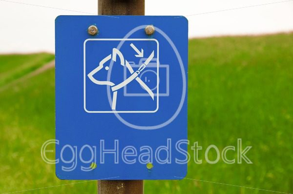 Dogs on leash sign - EggHeadStock