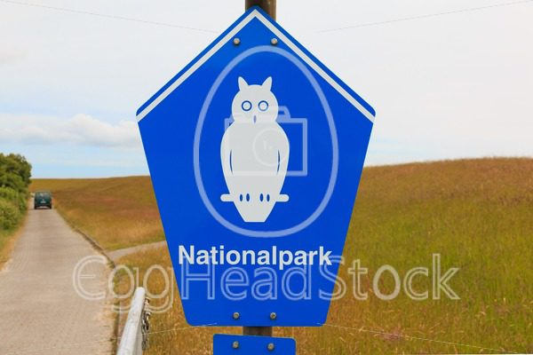 Sign of National park on the island of Borkum, Germany - EggHeadStock