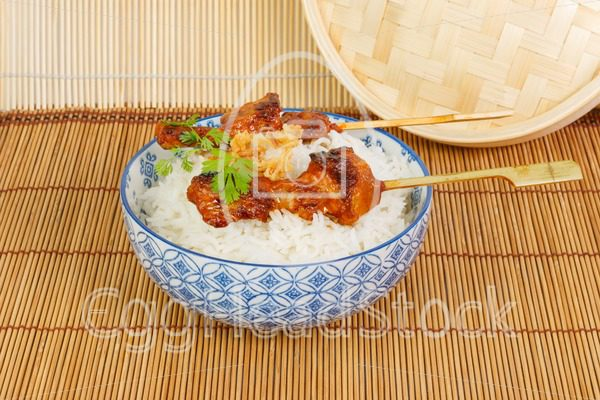 On charcoal grilled satay  with rice - EggHeadStock