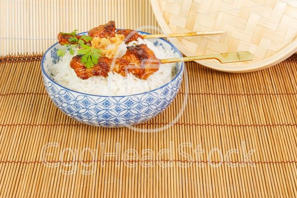 Satay  with rice - EggHeadStock