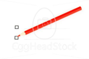 Red pencil with two unticked checkboxes - EggHeadStock