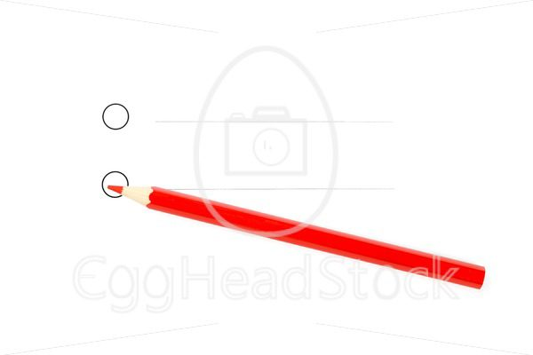 Red pencil with two unticked round checkboxes - EggHeadStock