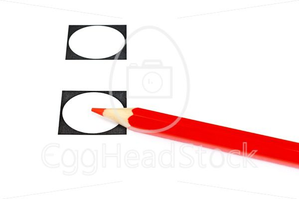 Voting with red pencil and two empty checkboxes - EggHeadStock