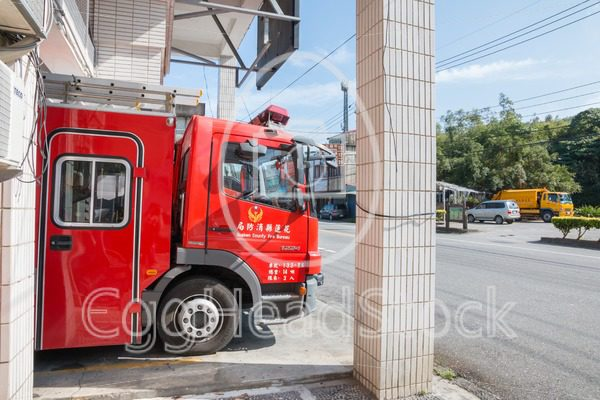Fire truck at fire station in Taiwan - EggHeadStock