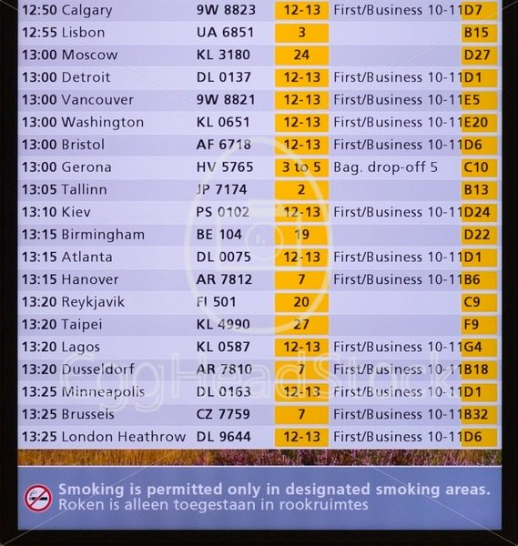 Amsterdam Schiphol Airport flight timetable screen - EggHeadStock