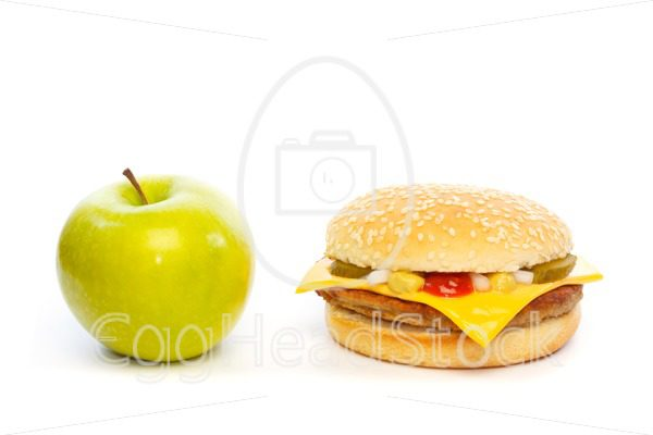 Choose: apple or cheeseburger - EggHeadStock