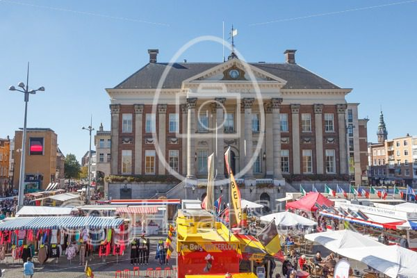 City Hall and market on the Grote Markt in Groningen - EggHeadStock