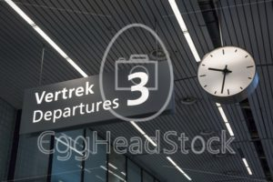 Sign to departures terminal at airport - EggHeadStock