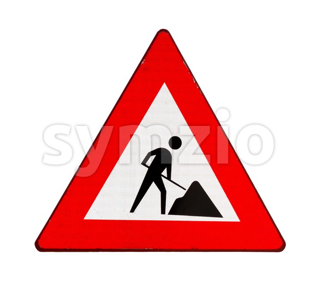 Road sign indicating road works ahead, isolated on white background