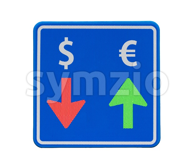 One way euro and dollar currency traffic: the euro is rising, the dollar is falling.