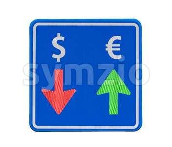 One-way euro and dollar currency traffic Stock Photo