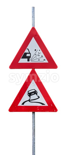 Traffic signs for loose chippings and slippery road Stock Photo