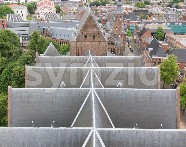 Top view on the slate roof of a church Stock Photo