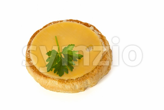 Rusk with cheese Stock Photo